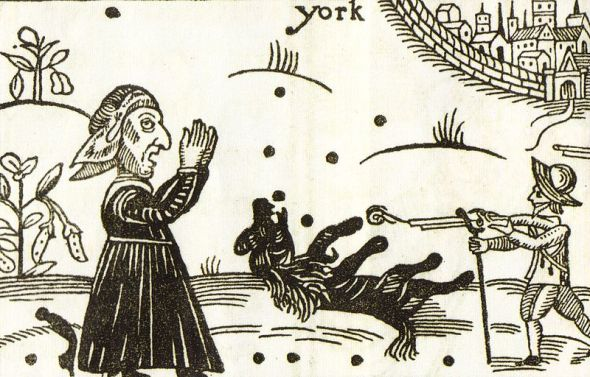 The death of Boye, watched by a weeping witch.