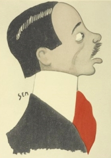 Caricature of Santos by his friend (and possibly more), the artist Sem.