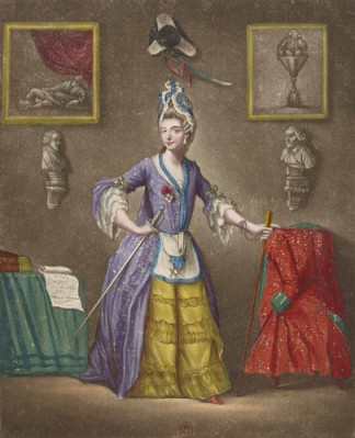 Mlle. D'Eon wearing her Croix de Saint-Louis and freemason's apron. She was allowed to remain a freemason even after declaring womanhood, showing that perhaps the masons did know all the secrets.